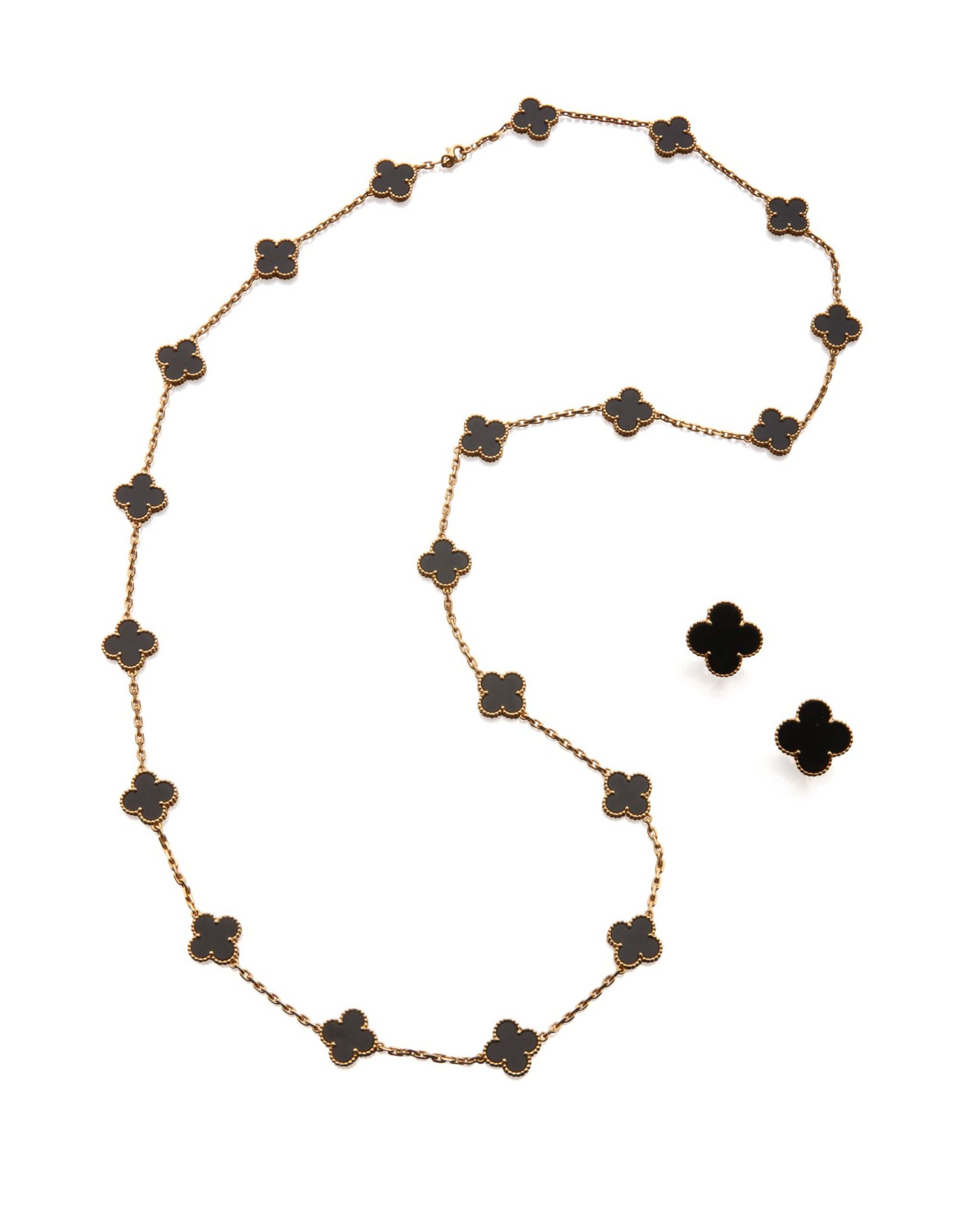 View 1 of Lot 23. ONYX 'ALHAMBRA' NECKLACE AND PAIR OF EARCLIPS, VAN CLEEF & ARPELS.