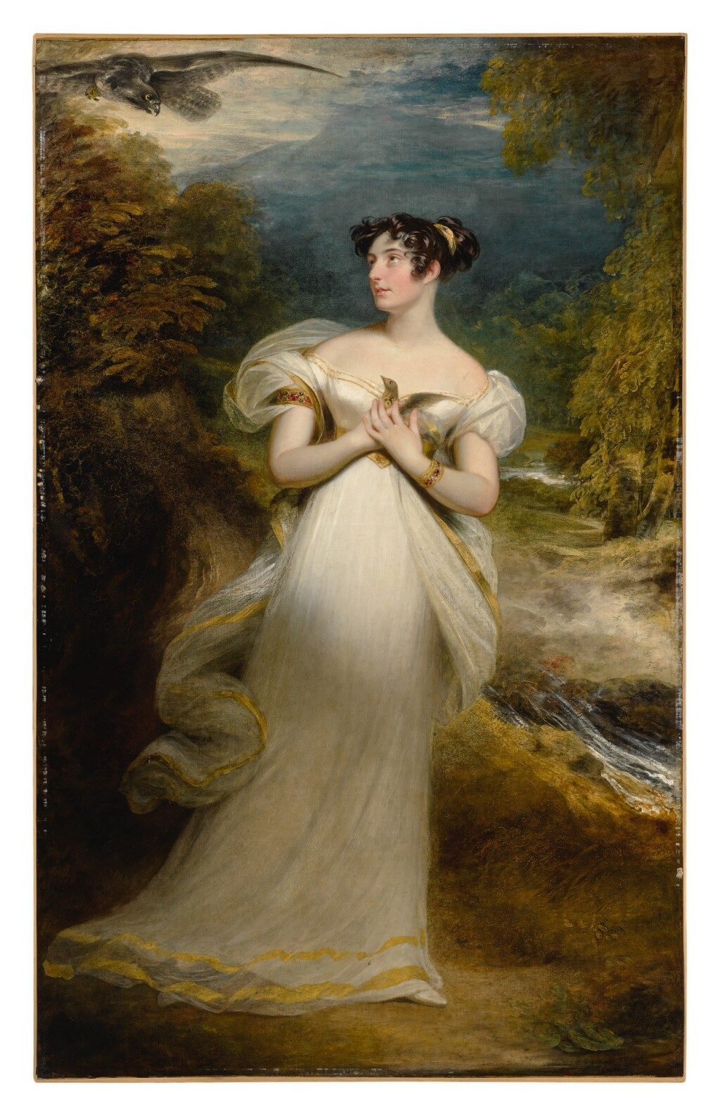 SIR WILLIAM BEECHEY, R.A.   PORTRAIT OF MISS MARY PAYNE, LATER MRS. DOLPHIN, FULL-LENGTH, IN A WHITE GOWN AND HOLDING A THRUSH AS AN EAGLE SWOOPS TOWARD HER, IN A WOODED LANDSCAPE