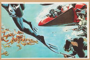 View 7. Thumbnail of Lot 52. THUNDERBALL (1965) US, PARTIAL BILLBOARD POSTER (ACCOMPANIED BY A FRAMED LOBBY CARD SIGNED BY SEAN CONNERY.).