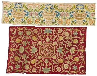 TWO EMBROIDERED FLORAL SILK PANELS, ITALIAN OR SPANISH, 17TH CENTURY