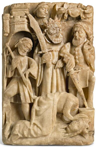 ENGLISH, PROBABLY NOTTINGHAM, 15TH CENTURY | RELIEF WITH THE BEHEADING OF SAINT CATHERINE