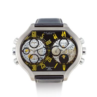"DELACOUR  |  BICHRONO BABY  A TITANIUM SKELETONIZED DUAL TIME ZONE CHRONOGRAPH WRISTWATCH WITH DAY, DATE AND MOON PHASES, CIRCA 2008 | ""Bichrono Baby 鈦金屬鏤空兩地時間計時腕錶,備日期、星期及月相顯示,錶殼編號45276,約2008年製"""