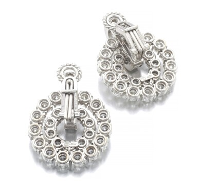 View 3. Thumbnail of Lot 1012. Pair of diamond ear clips.