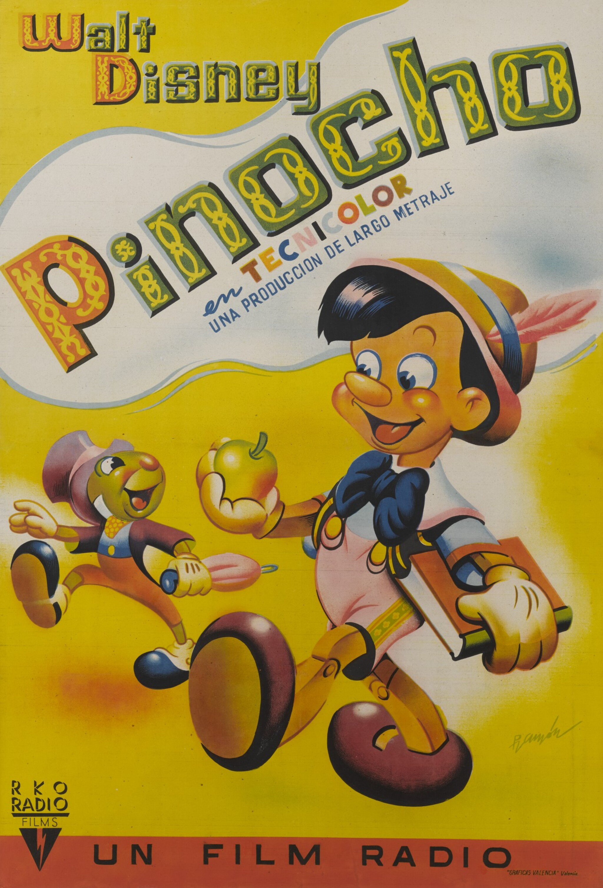 View full screen - View 1 of Lot 6. PINOCCHIO (1940) POSTER, SPANISH.