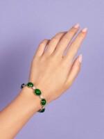 A FINE AND RARE JADEITE AND DIAMOND BRACELET  天然「帝王綠」翡翠 配 鑽石 手鏈