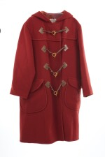 Red Duffle coat with toggle buttons, Hermès