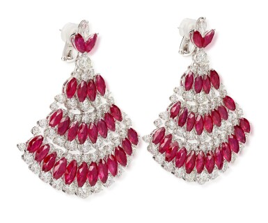 View 3. Thumbnail of Lot 1018. Pair of Ruby and Diamond Earrings | 格拉夫| 紅寶石 配 鑽石 耳墜一對 (紅寶石及鑽石共重約49.20及23.30克拉).