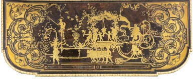 View 4. Thumbnail of Lot 7. A GILT-BRONZE MOUNTED, BRASS-INLAID AND BROWN TORTOISESHELL BOULLE MARQUETRY CONSOLE TABLE, LOUIS XIV, ATTRIBUTED TO ANDRÉ-CHARLES BOULLE AND HIS WORKSHOP, CIRCA 1710-1720 | TABLE À SIX PIEDS EN MARQUETERIE D'ÉCAILLE BRUNE, LAITON GRAVÉS, PLACAGE D'ÉBÈNE ET BRONZE DORÉ D'ÉPOQUE LOUIS XIV, VERS 1710-1720, ATTRIBUÉE À ANDRÉ-CHARLES BOULLE ET SON ATELIER.