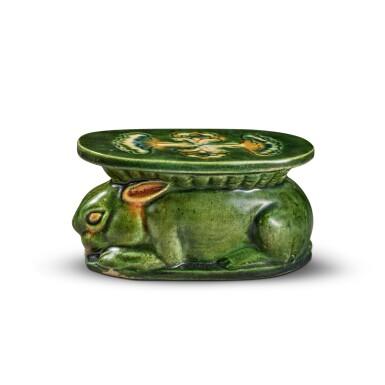 View 1. Thumbnail of Lot 97. A sancai-glazed pottery 'rabbit' wrist pillow, Tang dynasty | 唐 三彩瑞兔形脈枕.