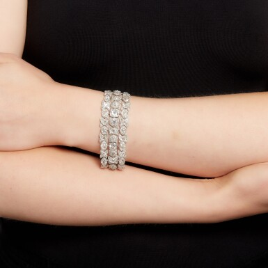 View 4. Thumbnail of Lot 17. Diamond bracelet, circa 1925.