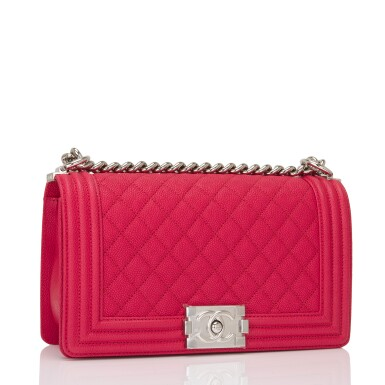 View 2. Thumbnail of Lot 186.  Chanel Red Quilted Old Medium Boy Bag of Caviar Leather with Silver Tone Hardware.