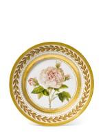 A porcelain botanical plate, Yusupov Factory, Arkhangelskoe, 1827