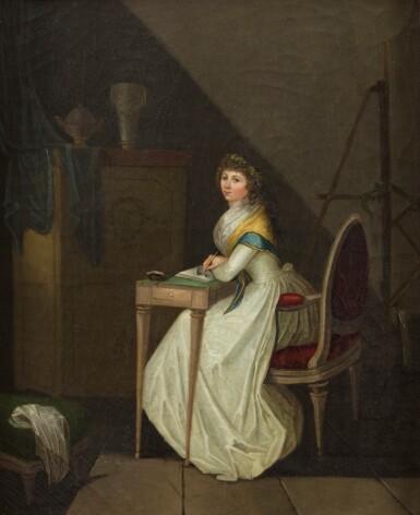 ATTRIBUTED TO JEAN-BAPTISTE-FRANÇOIS BOSIO MONACO 1764 - 1827 PARIS [ATTRIBUÉ À JEAN-BAPTISTE-FRANÇOIS BOSIO MONACO 1764 - 1827 PARIS] | PORTRAIT OF A YOUNG WOMAN DRAWING IN AN INTERIOR [PORTRAIT D'UNE JEUNE FEMME EN TRAIN DE DESSINER DANS UN INTÉRIEUR]