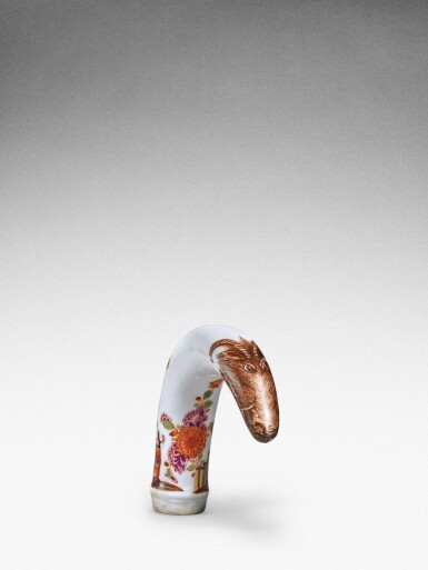 View 3. Thumbnail of Lot 88. A Meissen horn-shaped cane handle, Circa 1735.