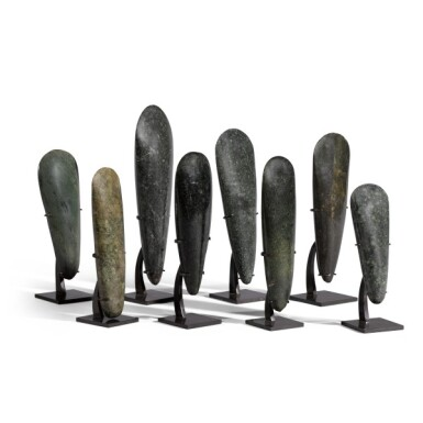 View 3. Thumbnail of Lot 80. Papua New Guinea, Lake Sentani, late 19th/early 20th century | Eight Adze Ceremonial Blades (Obligation Stones).
