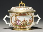 A MEISSEN SILVER-GILT-MOUNTED ECUELLE, COVER AND STAND CIRCA 1725