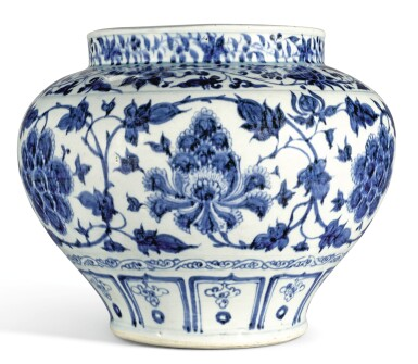 View 3. Thumbnail of Lot 138. A LARGE BLUE AND WHITE 'PEONY' JAR YUAN DYNASTY | 元 青花纏枝牡丹紋罐.