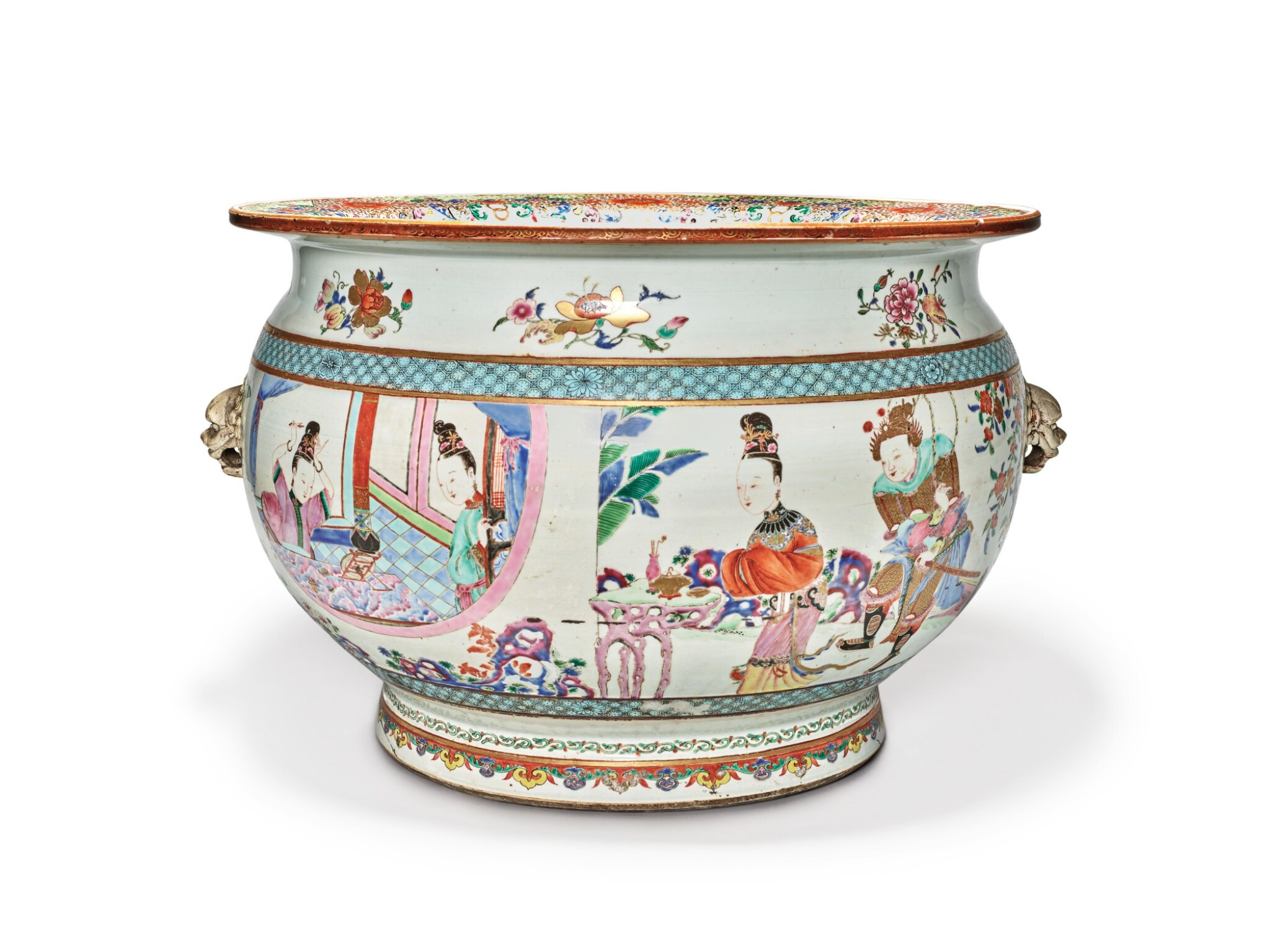 View full screen - View 1 of Lot 449. A Rare and Large Chinese Export Famille-rose 'Figures' Fishbowl, Qing Dynasty, Yongzheng Period | 清雍正  粉彩描金人物故事圖大缸.