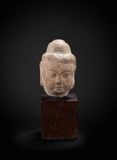 View 1. Thumbnail of Lot 39. A small marble head of Buddha Tang dynasty | 唐 大理石雕佛首.