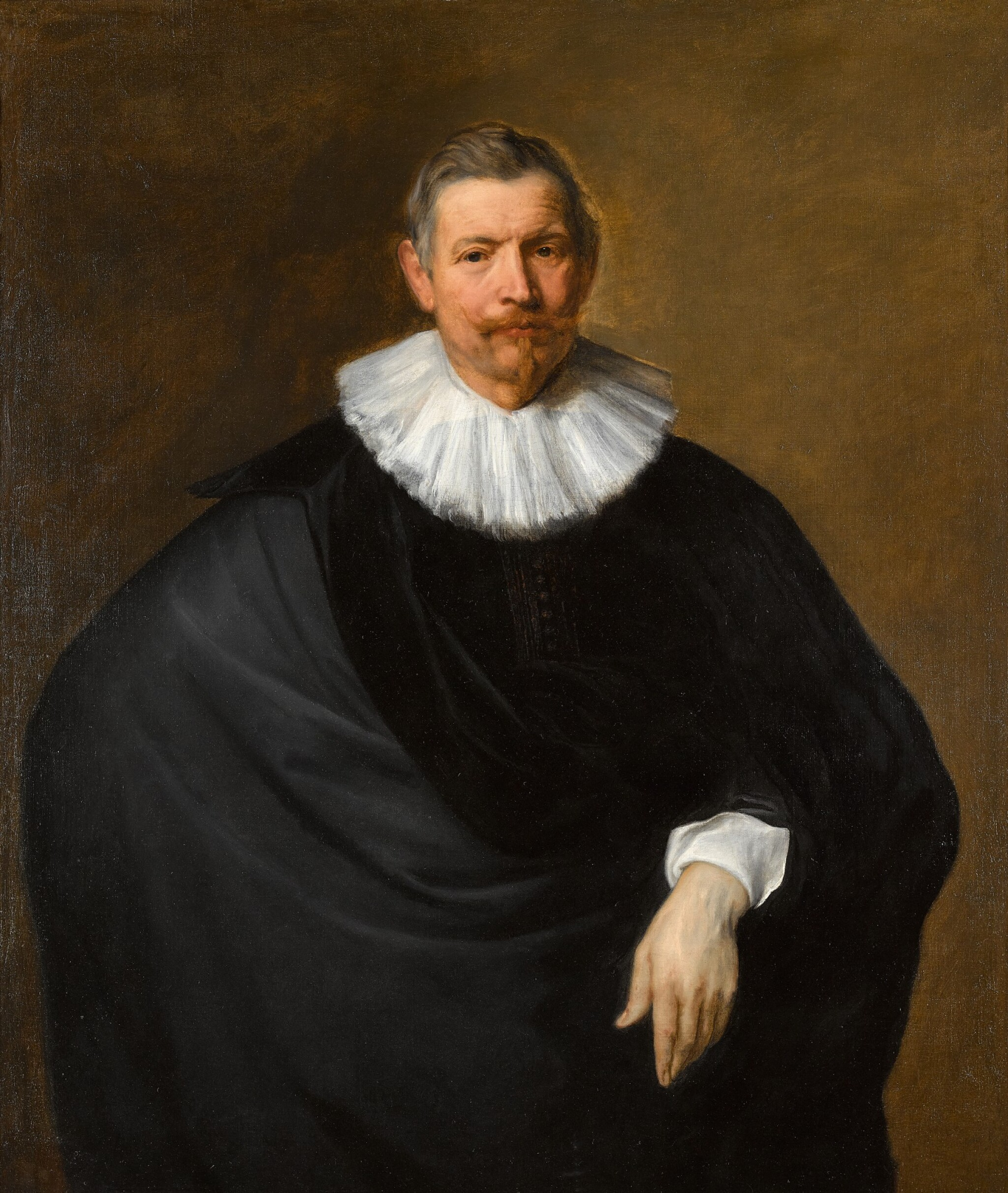 View full screen - View 1 of Lot 27. SIR ANTHONY VAN DYCK  |  PORTRAIT OF HUBERT DU HOT (B. CIRCA 1573), THREE-QUARTER LENGTH, IN BLACK WITH A WHITE RUFF.