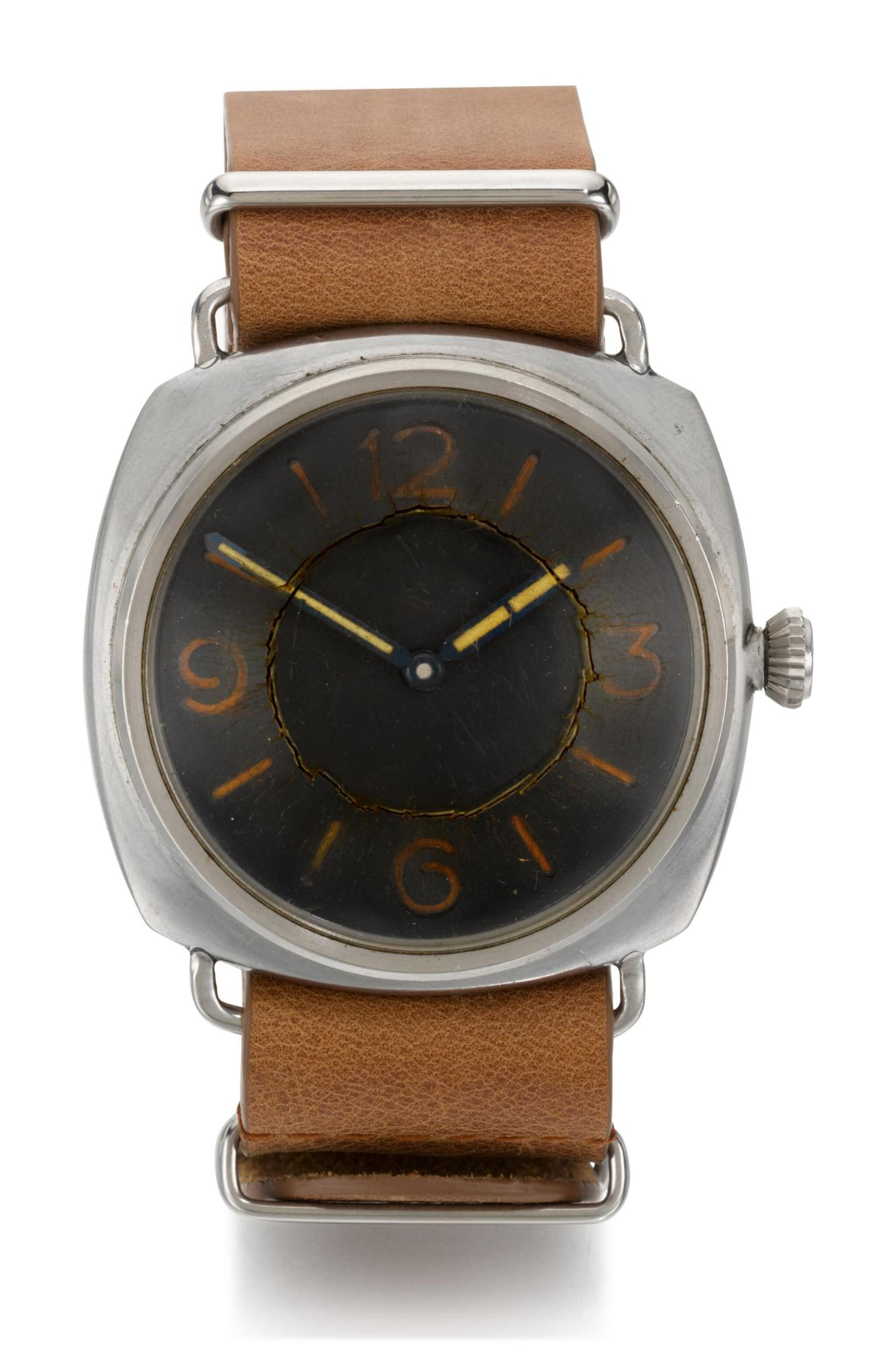 View full screen - View 1 of Lot 8. PANERAI/ROLEX,  ROLEX FOR PANERAI: RADIOMIR   REFERENCE 3646  MILITARY STAINLESS STEEL DIVER'S WATCH,  CIRCA 1943.