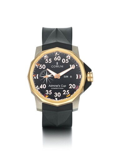 CORUM | ADMIRALS CUP, REFERENCE 01.0002, A PINK GOLD AND TITANIUM WRISTWATCH WITH DAY AND DATE, CIRCA 2010
