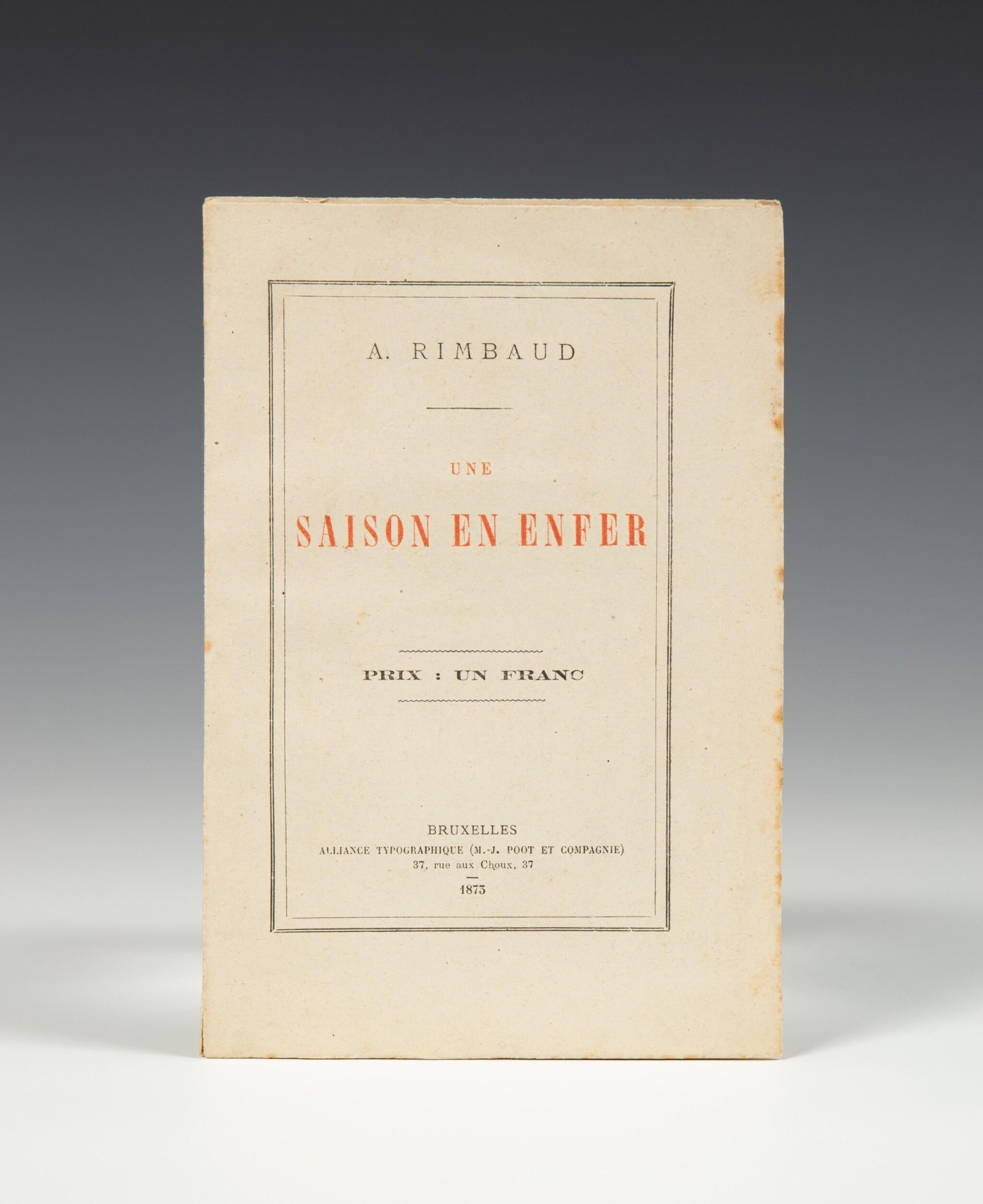 View full screen - View 1 of Lot 94. RIMBAUD. Une saison en enfer. 1873. Broché. Rare édition originale..