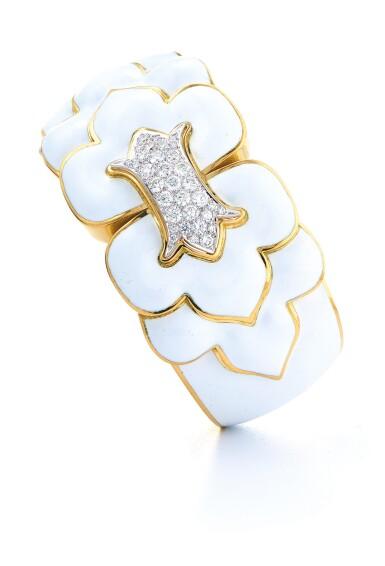 View 1. Thumbnail of Lot 25. DAVID WEBB | GOLD, ENAMEL AND DIAMOND CUFF-BRACELET.