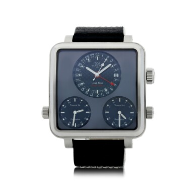 GLYCINE | REFERENCE 3861 AIRMAN 7   A STAINLESS STEEL AUTOMATIC SQUARE SHAPED WRISTWATCH WITH FOUR TIME ZONE AND DATE, CIRCA 2013