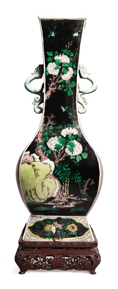 View 3. Thumbnail of Lot 1032.  A FAMILLE-NOIRE 'FLORAL' FANGHU-FORM VASE, QING DYNASTY, 19TH CENTURY.