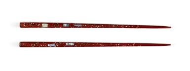 View 1. Thumbnail of Lot 47. Lacquer chopsticks | Given to Sylvia Plath by Ted Hughes.