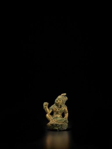 View 1. Thumbnail of Lot 104. A small gilt-bronze figure of a bodhisattva, Tang dynasty | 唐 銅鎏金袖珍菩薩坐像.