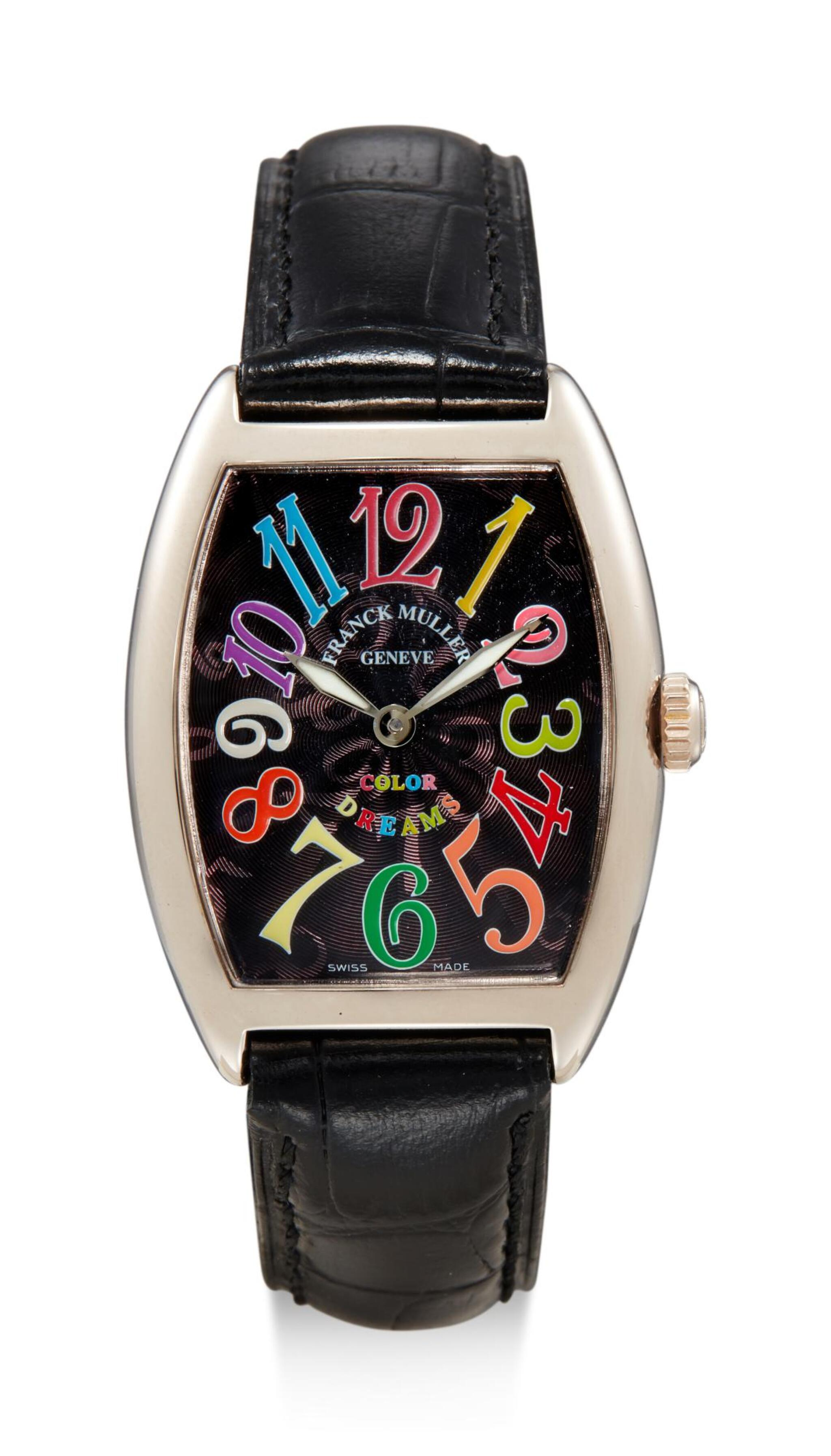 View full screen - View 1 of Lot 8026. FRANCK MULLER | CINTRÉE CURVEX COLOR DREAMS, REFERENCE 7502 QZ,  A WHITE GOLD WRISTWATCH, CIRCA 2010.