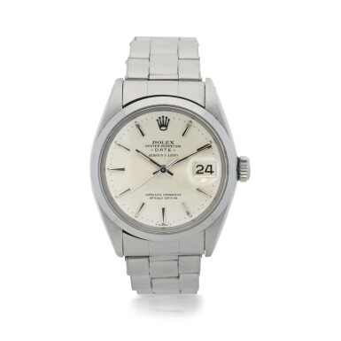 View 1. Thumbnail of Lot 552. ROLEX  |  REFERENCE 1500 DATE  RETAILED BY SERPICO Y LAINO: A STAINLESS STEEL AUTOMATIC WRISTWATCH WITH DATE AND BRACELET, CIRCA 1965.