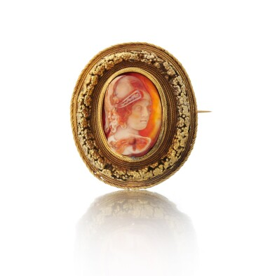 View 1. Thumbnail of Lot 1. Carnelian intaglio brooch (Spilla intaglio in corniola), 1860     .