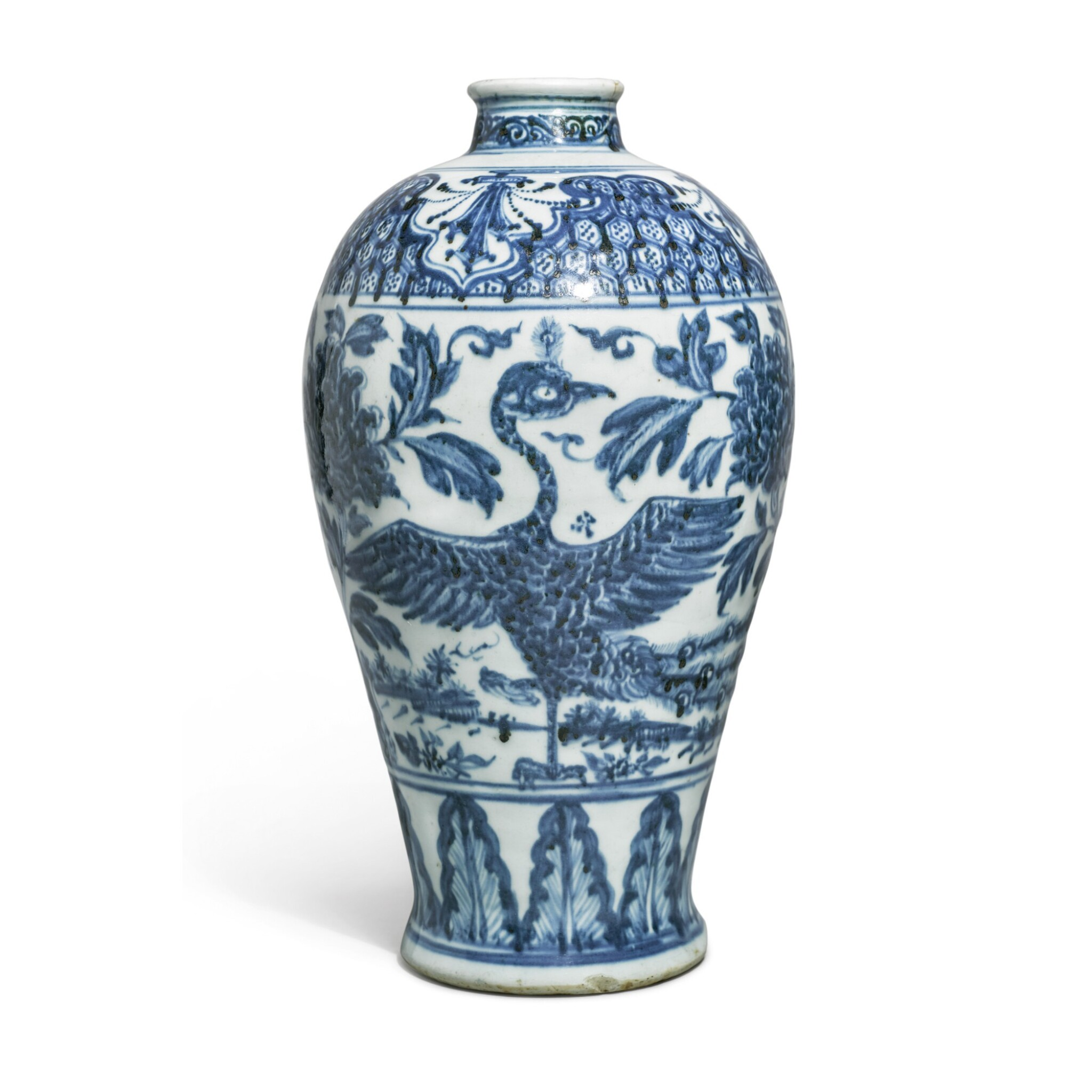 View 1 of Lot 513.  A RARE BLUE AND WHITE 'PEACOCK' MEIPING,   MING DYNASTY, MID-15TH CENTURY.
