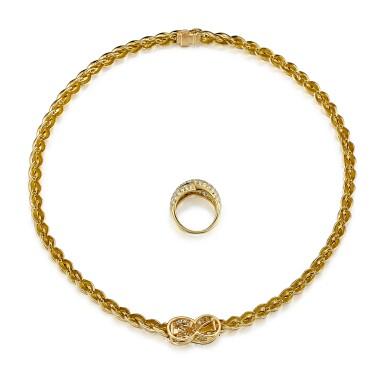 View 3. Thumbnail of Lot 9175.  GOLD AND DIAMOND DEMI PARURE, VAN CLEEF & ARPELS | K金 配 鑽石 項鏈及戒指套裝, 梵克雅寶(Van Cleef & Arpels).
