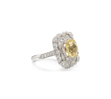 View 2. Thumbnail of Lot 13. YELLOW SAPPHIRE AND DIAMOND RING.