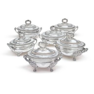 View 1. Thumbnail of Lot 788. A SET OF FOUR REGENCY SILVER SAUCE TUREENS AND COVERS, BENJAMIN SMITH II & BENJAMIN SMITH III, LONDON, 1817.
