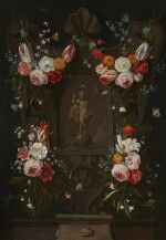 JAN VAN KESSEL THE ELDER | A SCULPTED CARTOUCHE WITH FLORAL STILL LIFE, WITH THE CHRIST CHILD AS SALVATOR MUNDI