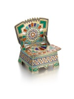 A miniature silver and champlevé enamel salt chair, Moscow, circa 1885