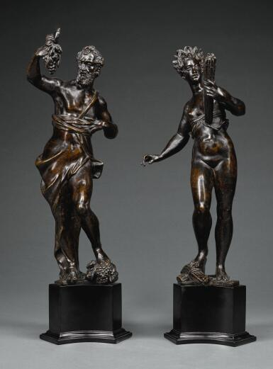ATTRIBUTED TO VIRGILIO RUBINI (CIRCA 1559/60 - BEFORE 1621), ITALIAN, VENICE, LATE 16TH/ EARLY 17TH CENTURY | ANDIRON FINIAL FIGURES OF BACCHUS AND CERES