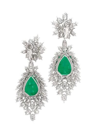 View 3. Thumbnail of Lot 172.  Harry Winston | Pair of emerald and diamond pendent ear clips, 1970s | 海瑞溫斯頓 | 祖母綠配鑽石耳墜一對,1970年代.