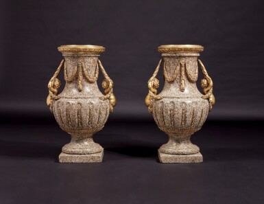 View 3. Thumbnail of Lot 57. A Monumental Pair of Gilt Bronze-Mounted Pink Granite Vases, the Mounts Circa 1840 After Designs by Jean-Louis Prieur or Jean-François Forty; the Vases Possibly Late 18th Century.