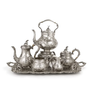 A VICTORIAN SILVER FOUR-PIECE TEA AND COFFEE SET WITH PLATED KETTLE ON LAMPSTAND AND SIMILAR PLATED TRAY, ROBERT HUTTON, SHEFFIELD, 1871