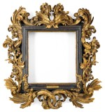 A NORTH ITALIAN BAROQUE CARVED GILTWOOD PICTURE FRAME, IN THE MANNER OF THE FANTONI WORKSHOP EARLY 18TH CENTURY