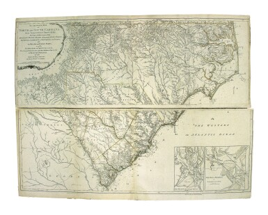 View 1. Thumbnail of Lot 228. Mouzon, Henry   The most handsome map of the Carolinas ever made.
