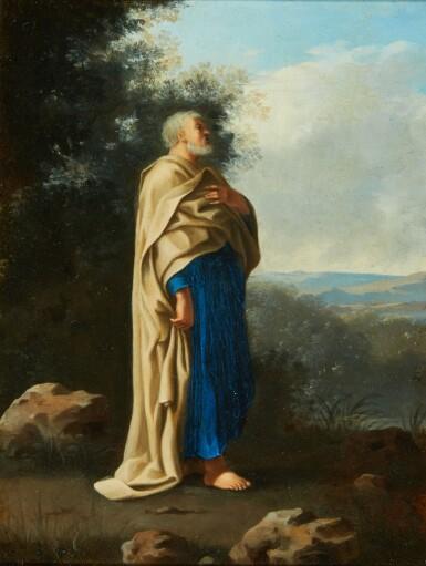View 1. Thumbnail of Lot 78. CORNELIS VAN POELENBURCH | Recto: Saint Peter standing in an italianate landscape; Verso: a rocky cave landscape.