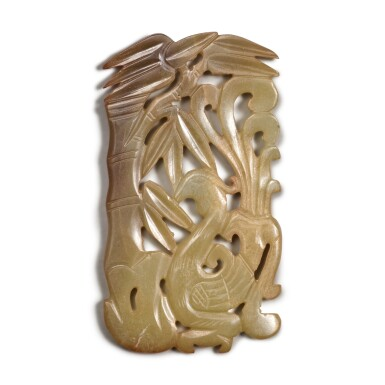 View 1. Thumbnail of Lot 95. A reticulated yellow jade 'phoenix and bamboo' plaque, Ming dynasty.