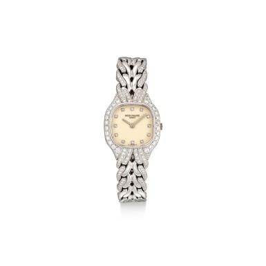 View 1. Thumbnail of Lot 8087. PATEK PHILIPPE | LA FLAMME, REFERENCE 4815/3 | A WHITE GOLD AND DIAMOND-SET BRACELET WATCH, CIRCA 1990 | 百達翡麗 | La Flamme 型號4815/ 3 白金鑲鑽石鏈帶腕錶,約1994年製.